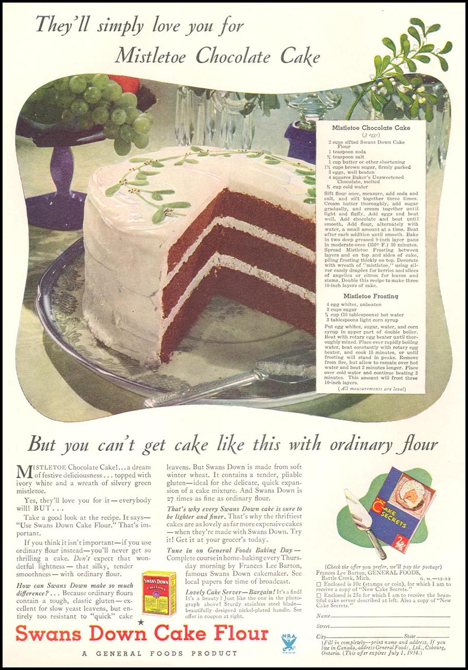 SWANS DOWN CAKE FLOUR GOOD HOUSEKEEPING 12/01/1933 p. 102