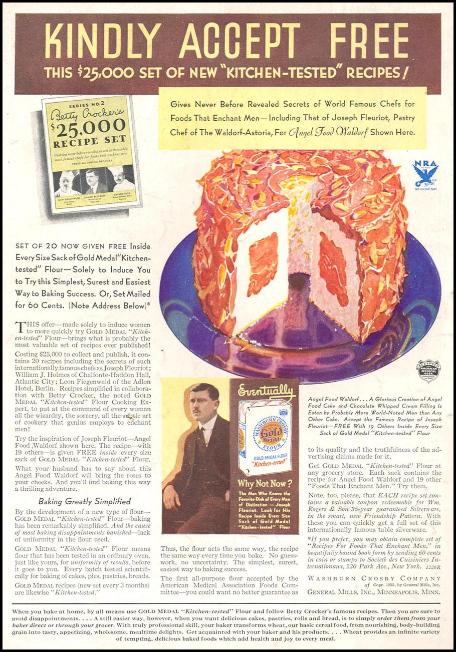 GOLD MEDAL FLOUR GOOD HOUSEKEEPING 12/01/1933 BACK COVER