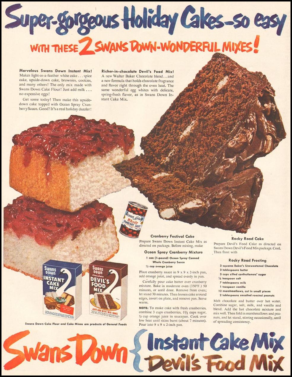 SAWNS DOWN CAKE MIXES LADIES' HOME JOURNAL 11/01/1950 p. 76