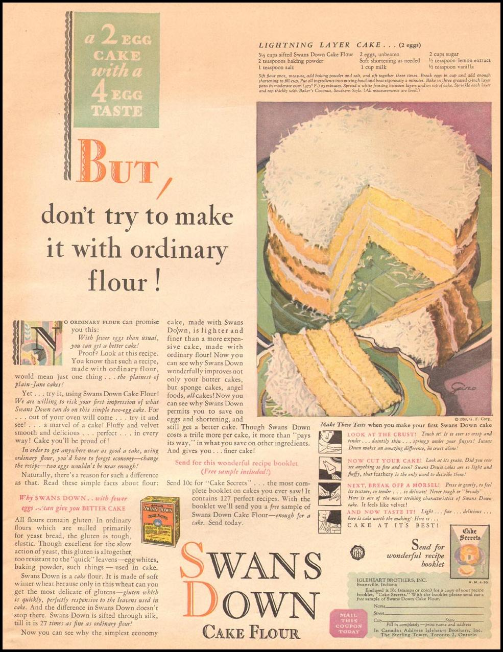 SWANS DOWN CAKE FLOUR THE HOME MAGAZINE 04/01/1930 p. 13