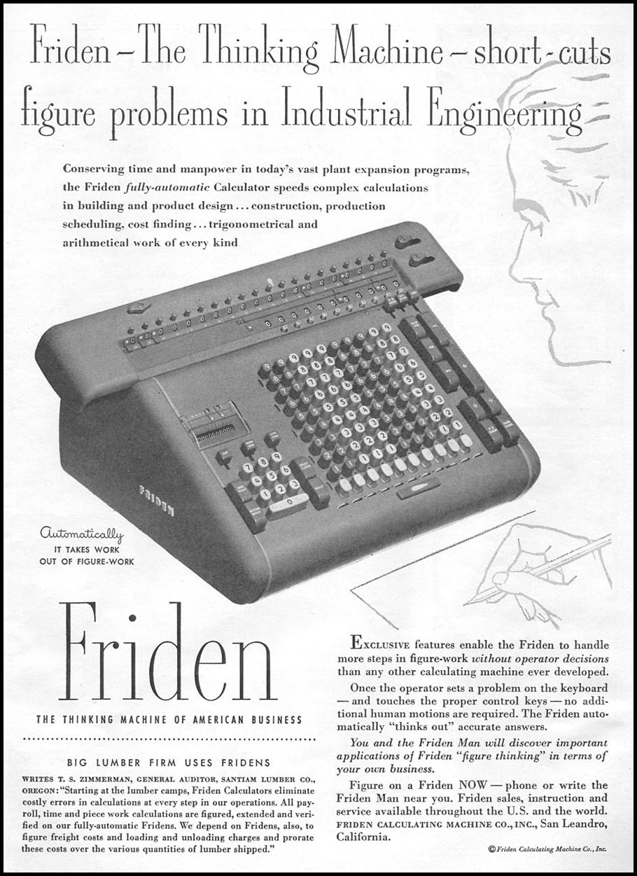 FRIDEN FULLY-AUTOMATIC CALCULATOR NEWSWEEK 09/03/1951 p. 61