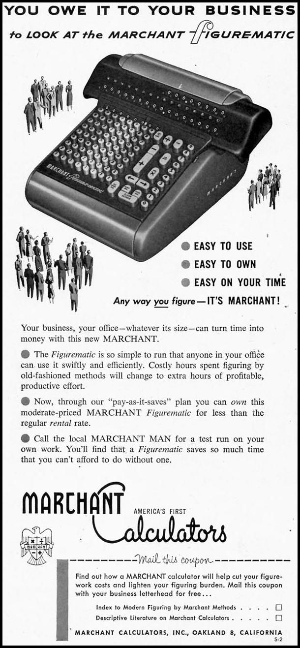 MARCHANT CALCULATORS SATURDAY EVENING POST 02/05/1955 p. 52