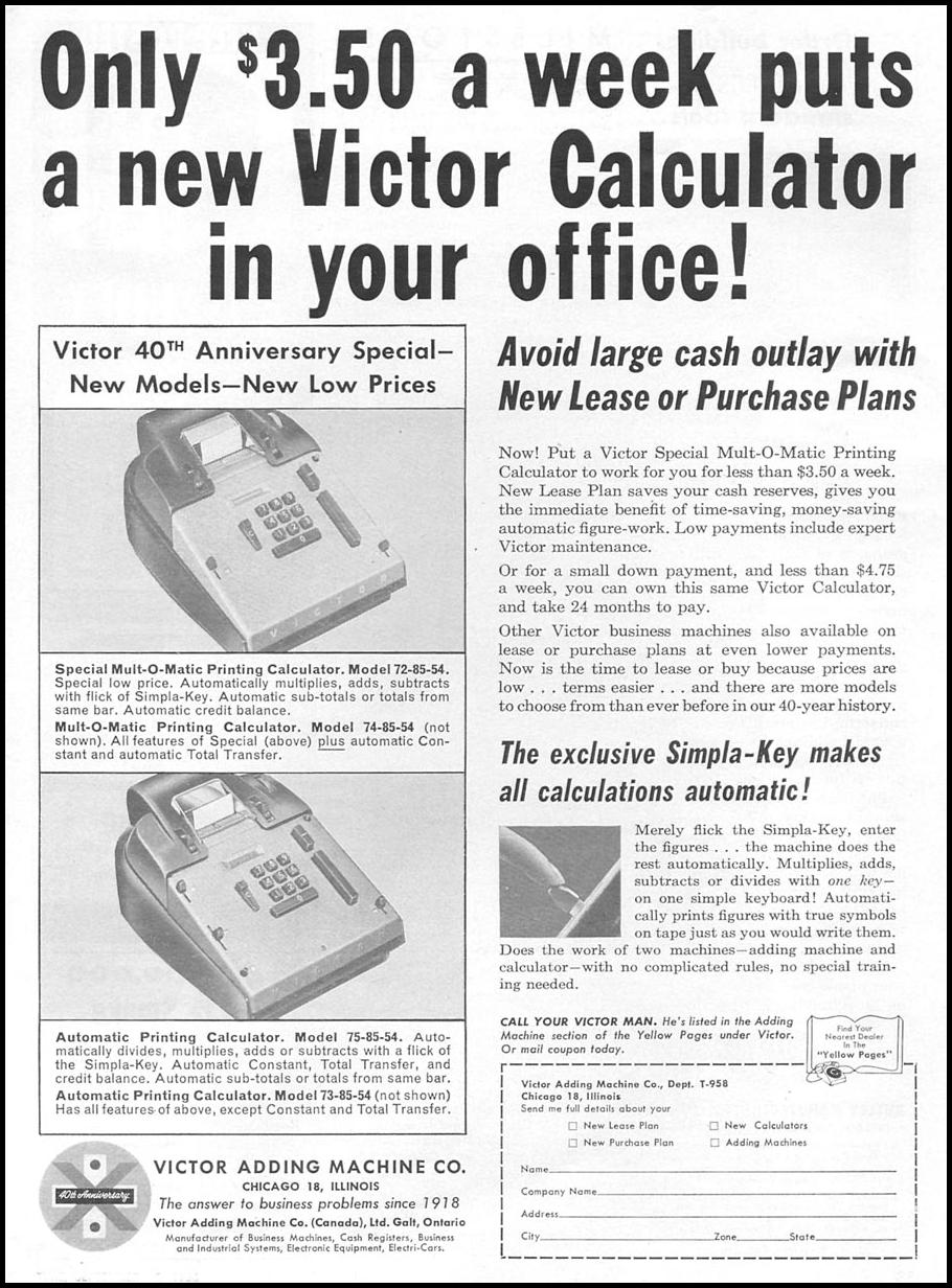 VICTOR CALCULATORS TIME 09/15/1958 p. 87