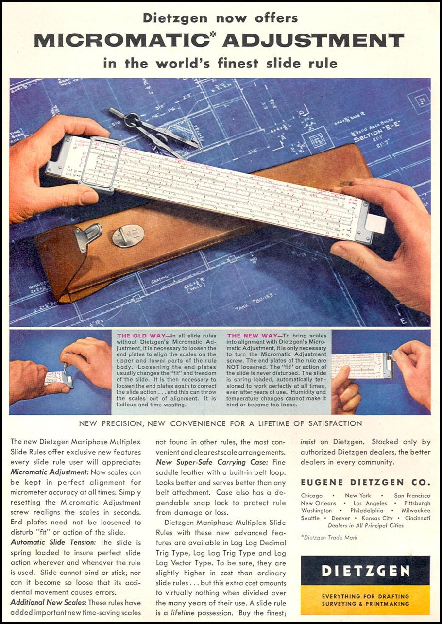 DIETZGEN SLIDE RULES TIME 09/17/1956 p. 102