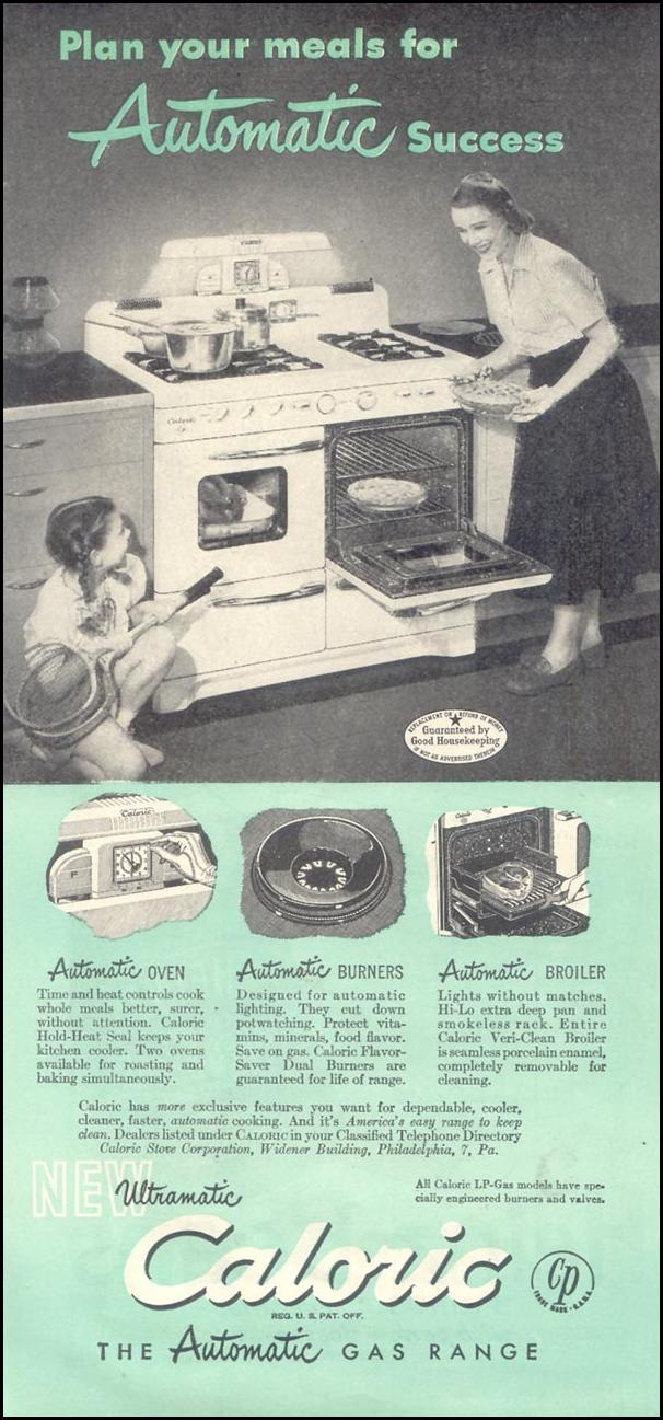 ULTRAMATIC CALORIC AUTOMATIC GAS RANGE GOOD HOUSEKEEPING 07/01/1948 p. 122