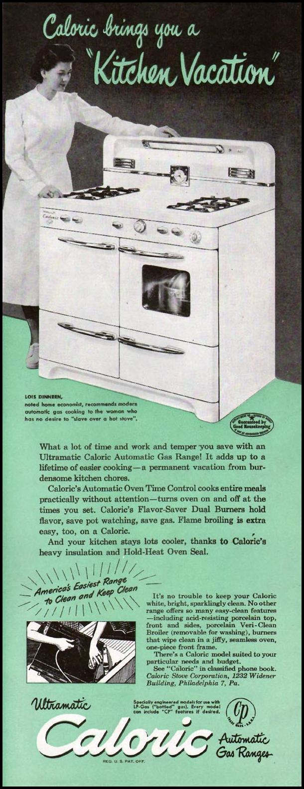 CALORIC AUTOMATIC GAS RANGES LADIES' HOME JOURNAL 07/01/1949 p. 91