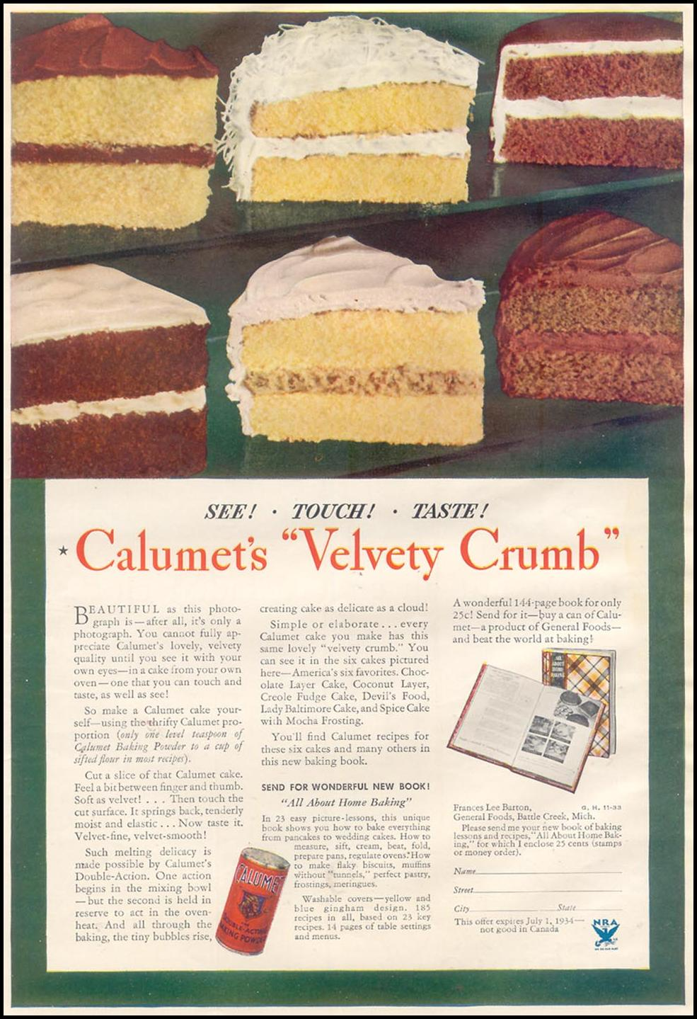 CALUMET BAKING POWDER GOOD HOUSEKEEPING 11/01/1933