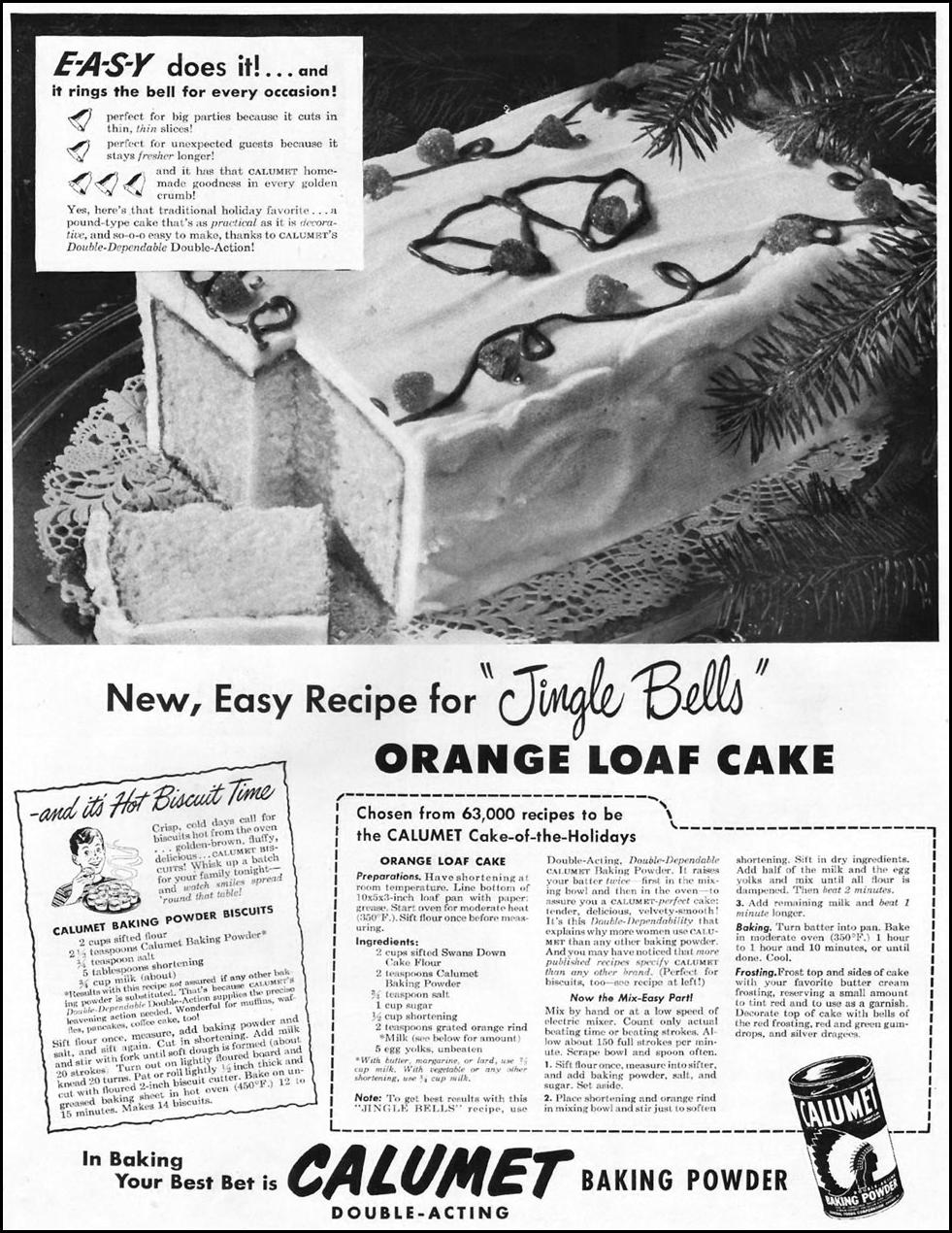 CALUMET BAKING POWDER LADIES' HOME JOURNAL 11/01/1950 p. 114