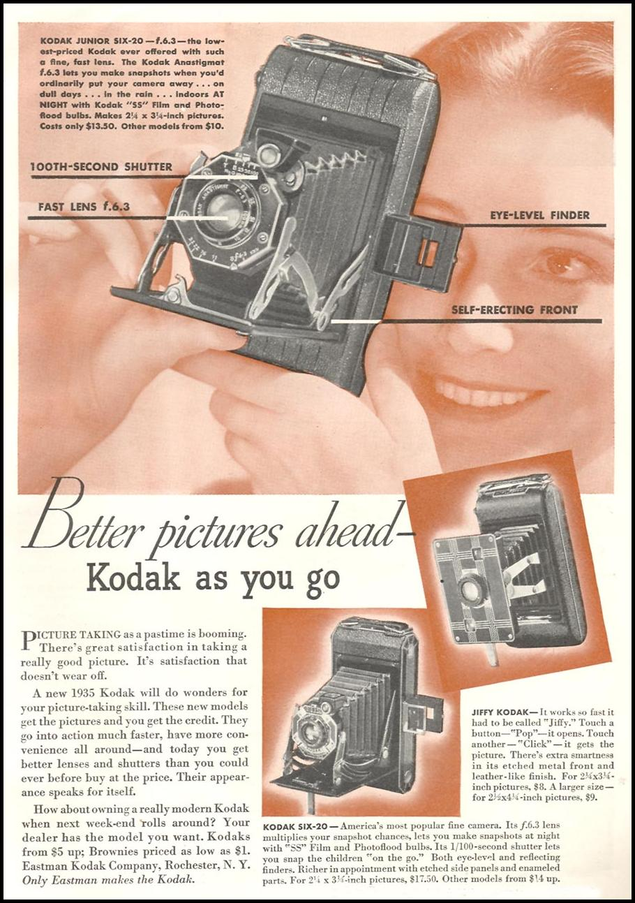 KODAK CAMERAS GOOD HOUSEKEEPING 06/01/1935 p. 123