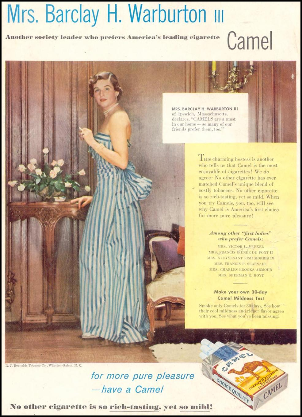 CAMEL CIGARETTES WOMAN'S DAY 07/01/1955 BACK COVER