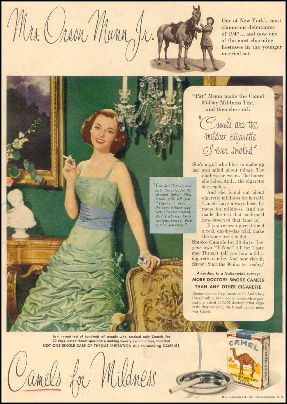 CAMEL CIGARETTES GOOD HOUSEKEEPING 07/01/1949 BACK COVER