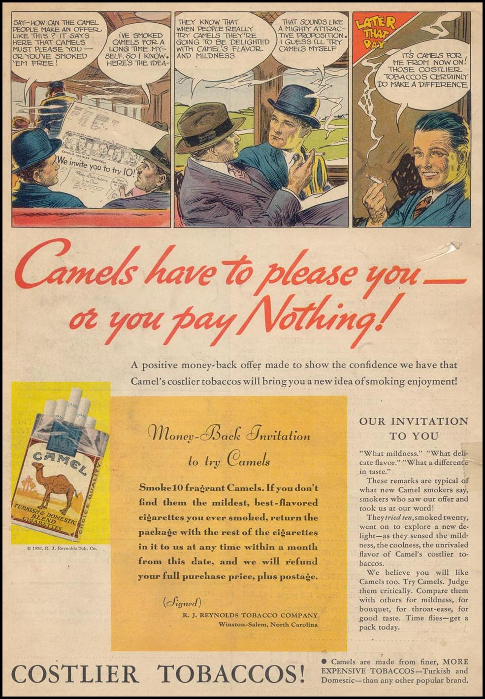 CAMEL CIGARETTES LIBERTY 02/05/1936 BACK COVER