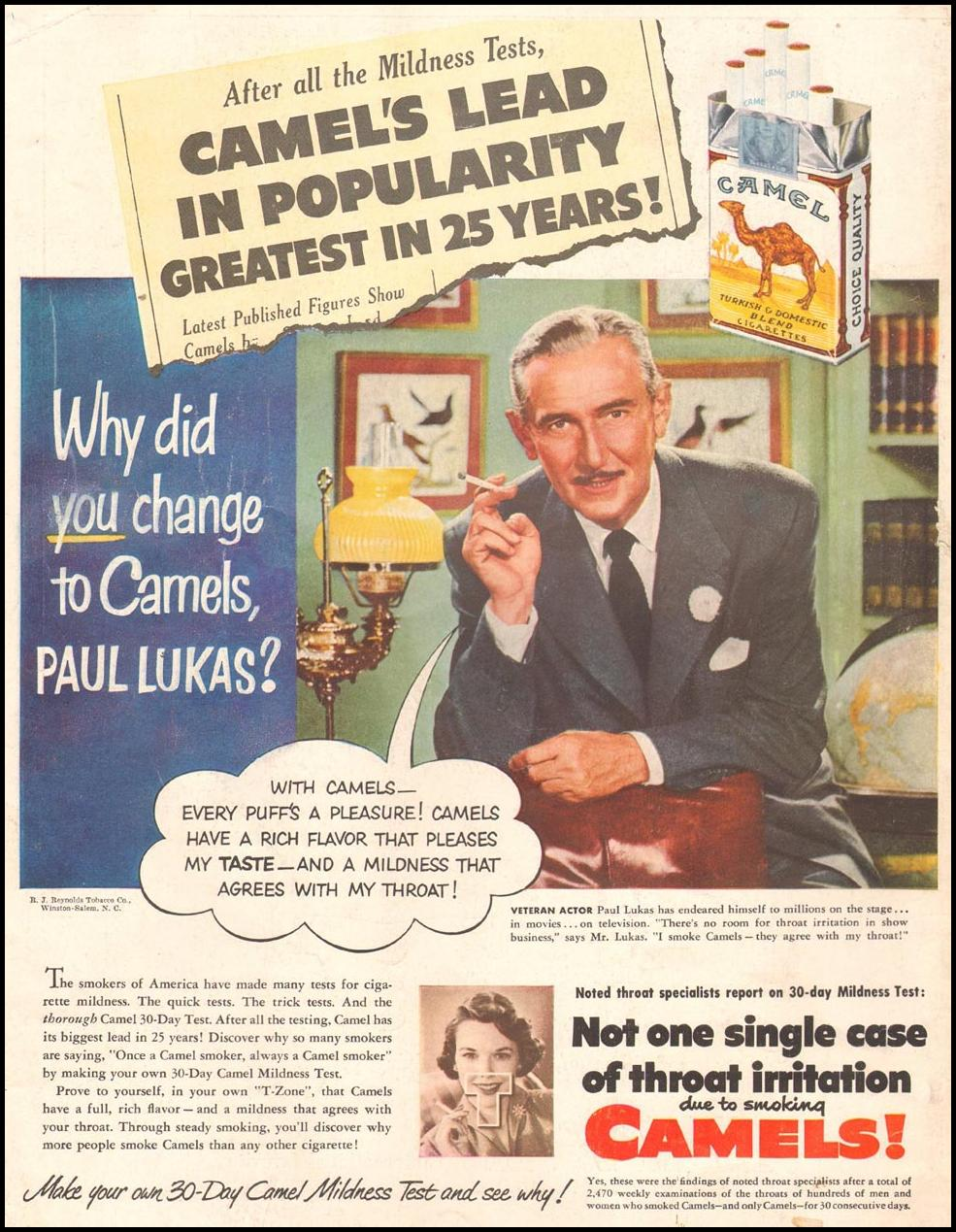 CAMEL CIGARETTES LIFE 07/02/1951 BACK COVER