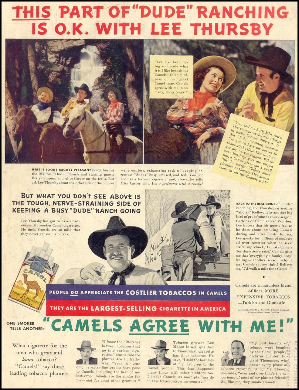 CAMEL CIGARETTES LIFE 07/18/1938 BACK COVER