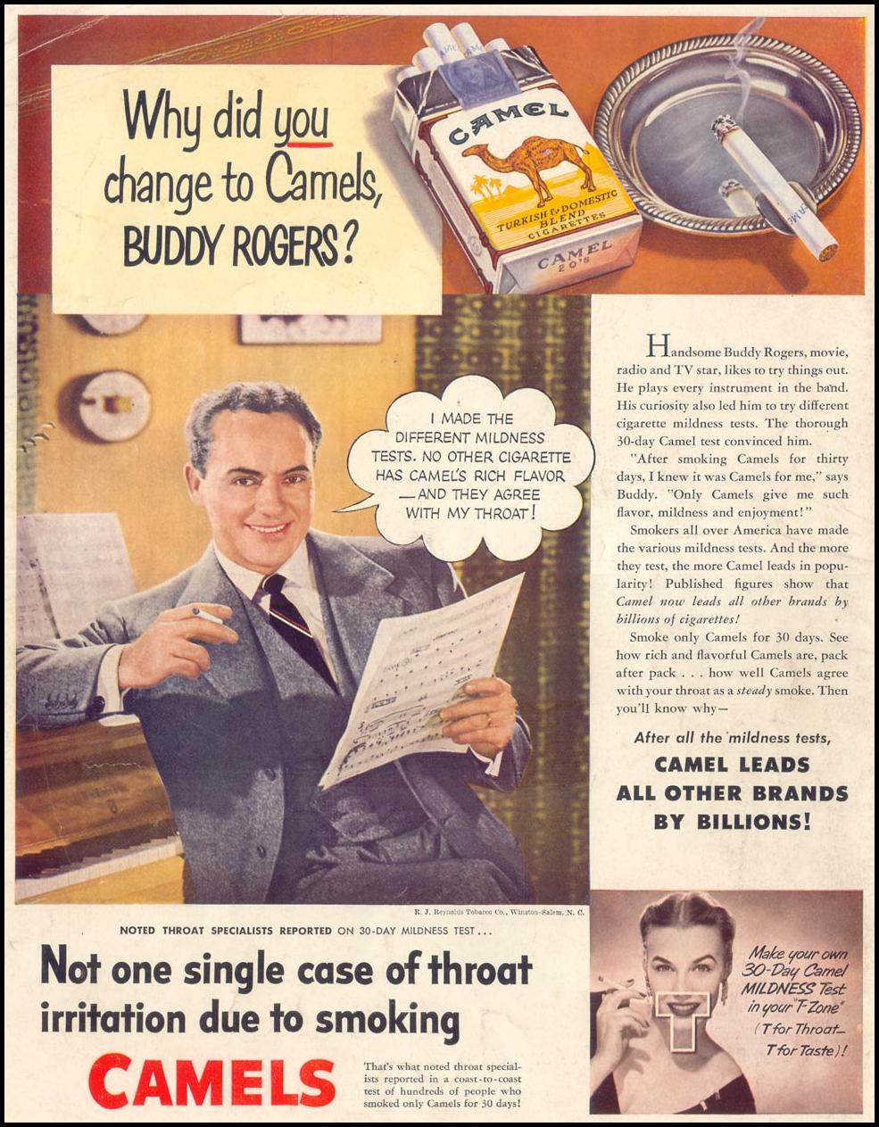 CAMEL CIGARETTES LIFE 07/30/1951 BACK COVER