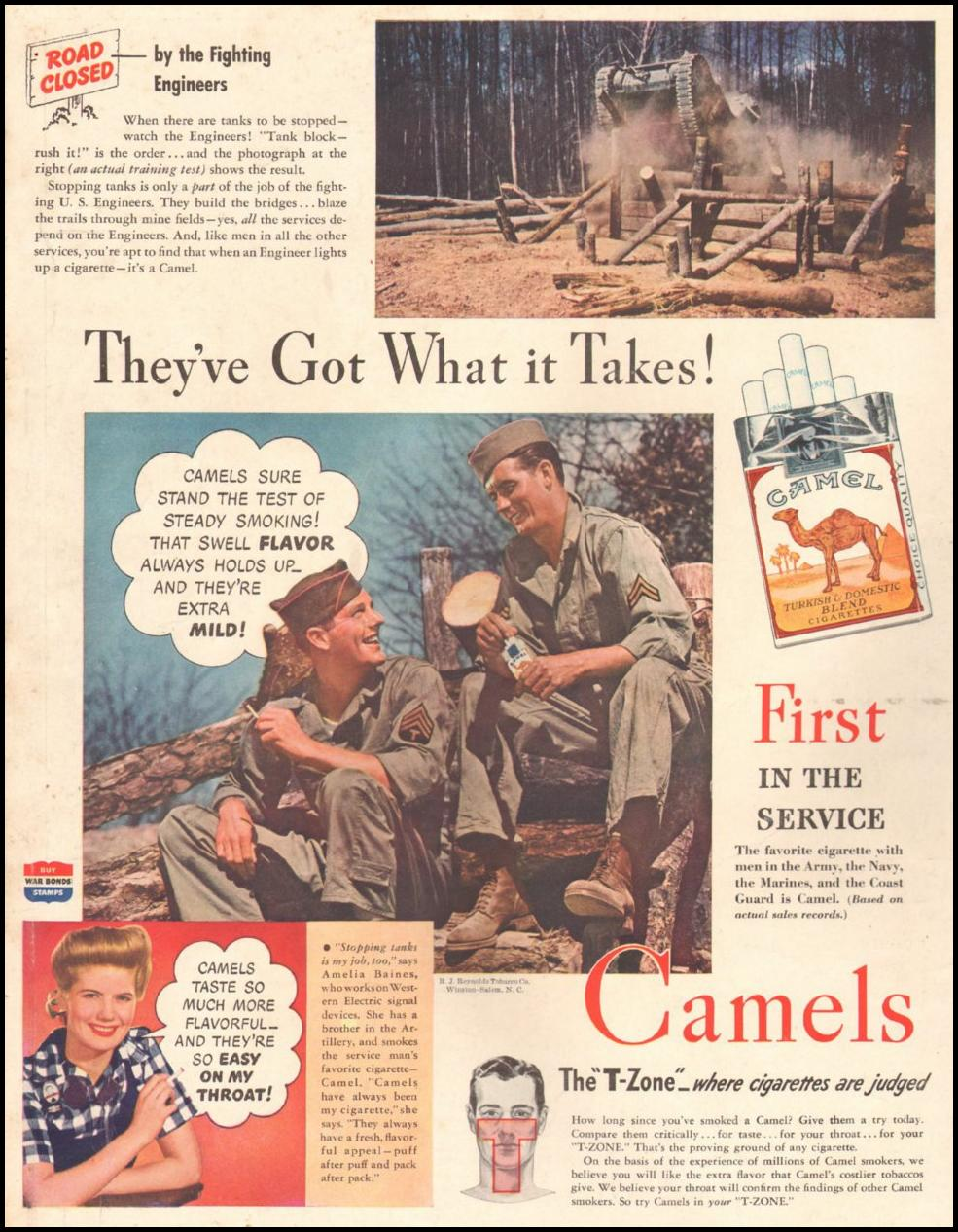 CAMEL CIGARETTES LIFE 10/25/1943 BACK COVER