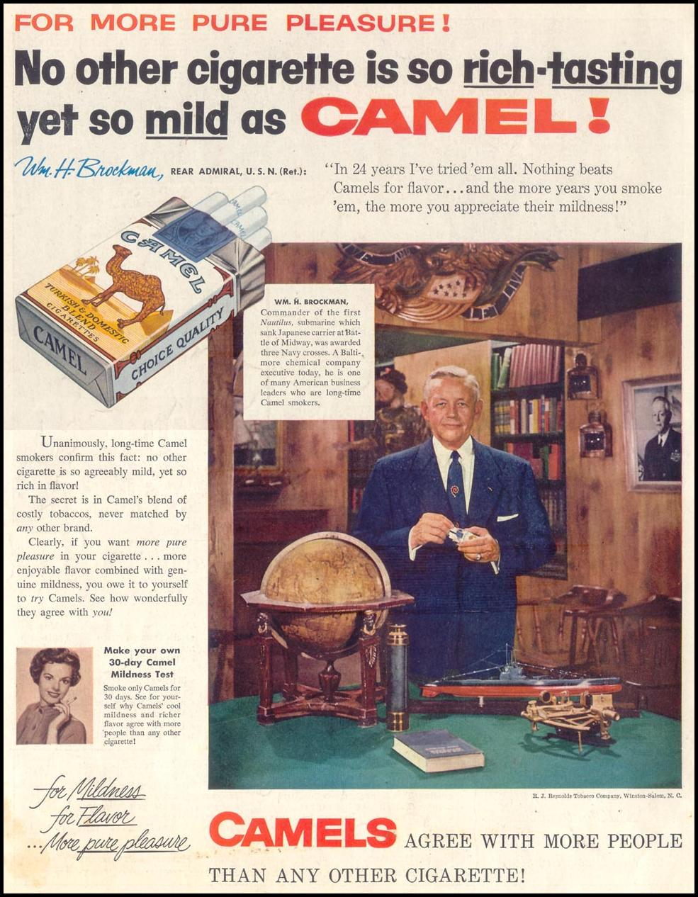 CAMEL CIGARETTES SATURDAY EVENING POST 02/05/1955 BACK COVER