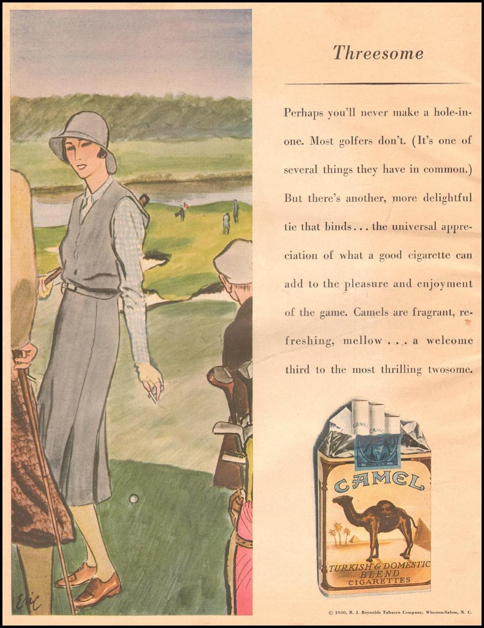 CAMEL CIGARETTES THE HOME MAGAZINE 07/01/1930 BACK COVER