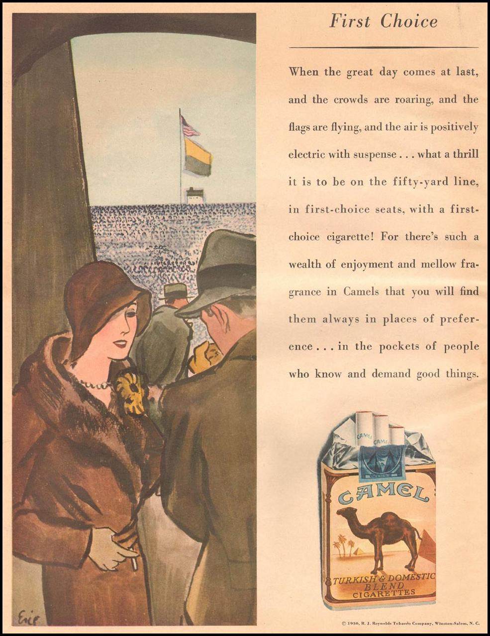 CAMEL CIGARETTES THE HOME MAGAZINE 12/01/1930 BACK COVER