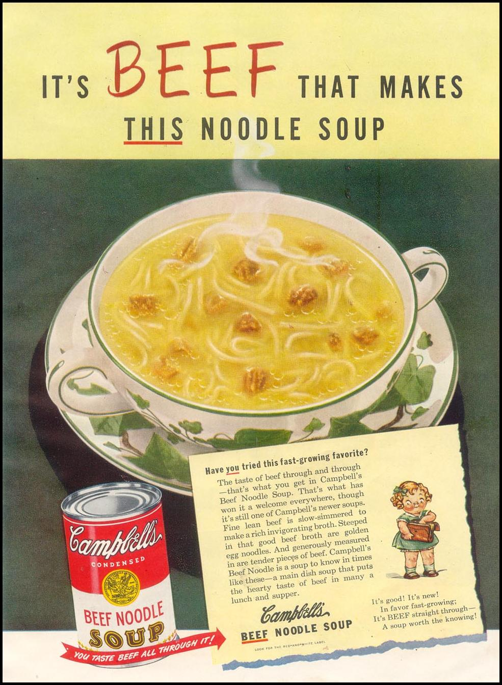 CAMPBELL'S BEEF NOODLE SOUP GOOD HOUSEKEEPING 07/01/1948