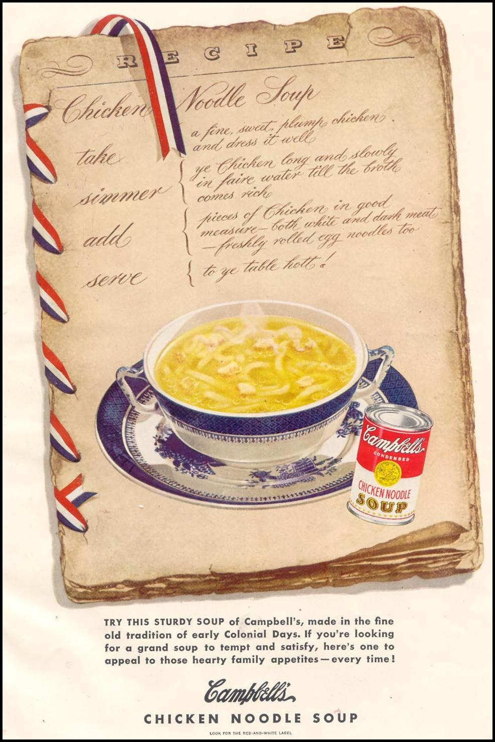 CAMPBELL'S CHICKEN NOODLE SOUP GOOD HOUSEKEEPING 07/01/1949