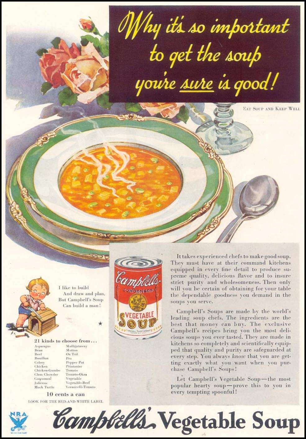 CAMPBELL'S VEGETABLE SOUP GOOD HOUSEKEEPING 11/01/1933