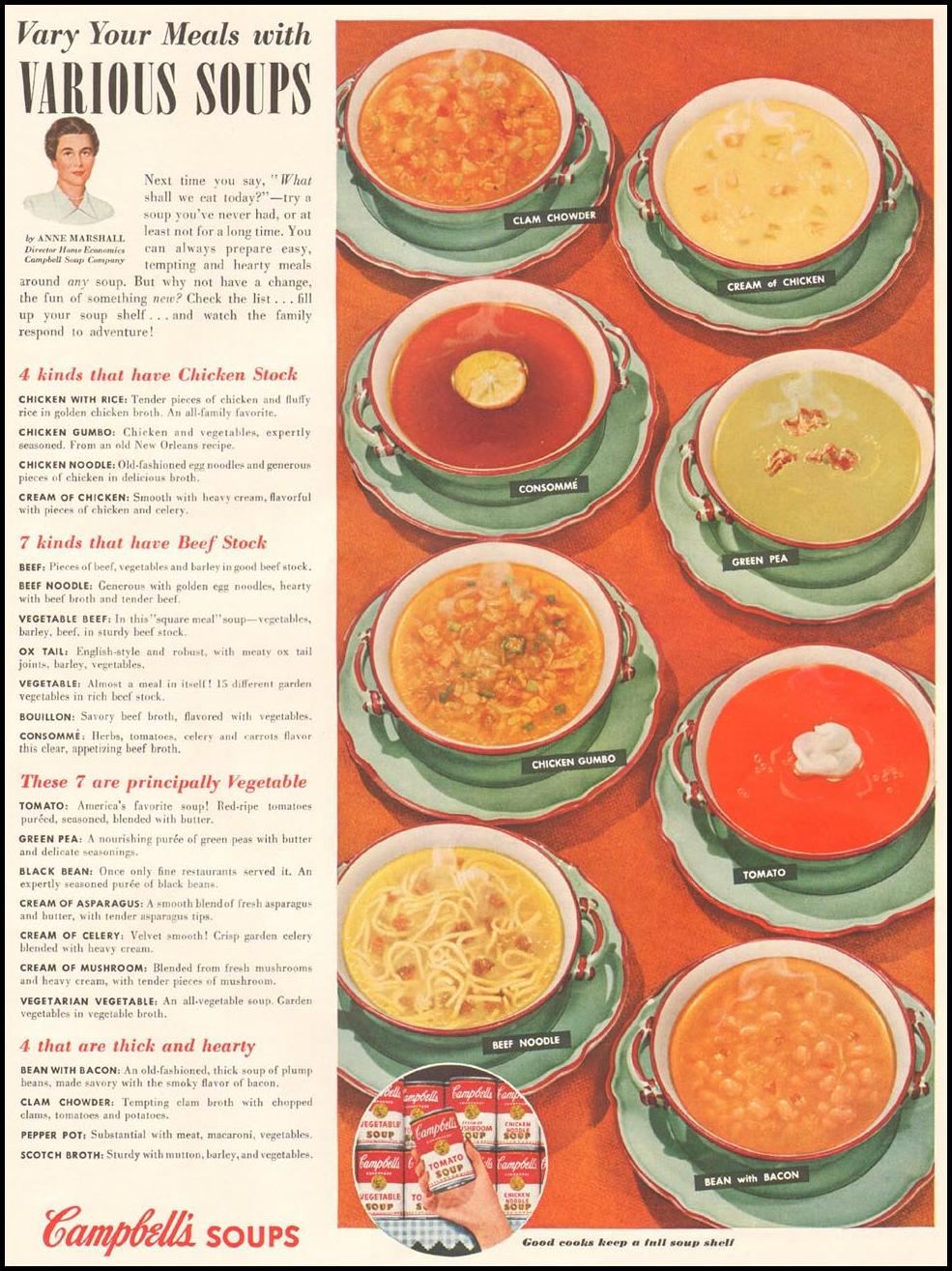 CAMPBELL'S SOUPS LADIES' HOME JOURNAL 03/01/1954 p. 75