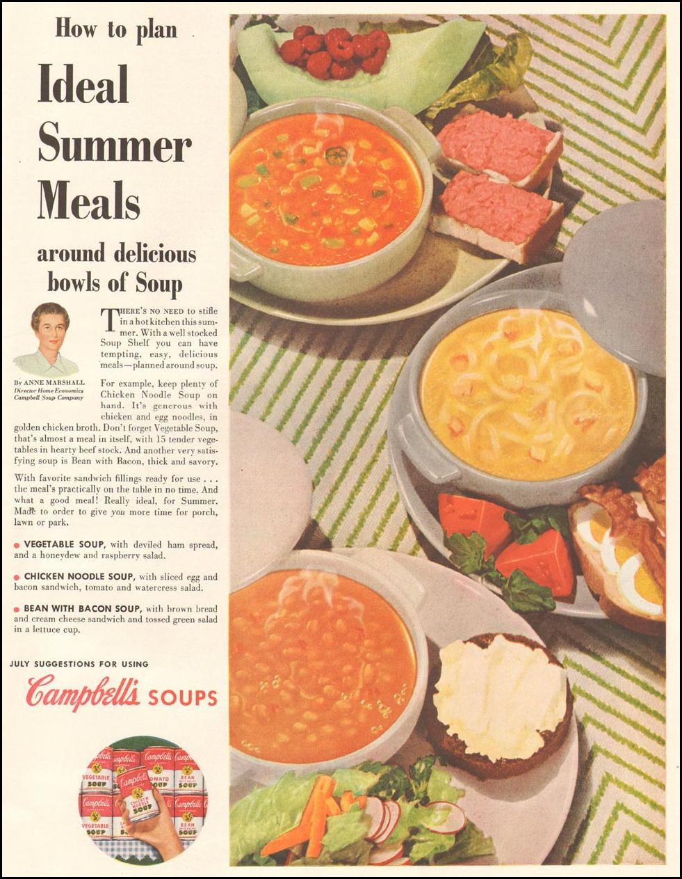CAMPBELL'S SOUPS LADIES' HOME JOURNAL 07/01/1954 p. 55