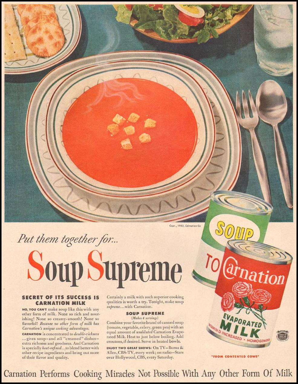 CARNATION EVAPORATED MILK LIFE 10/13/1952 p. 63