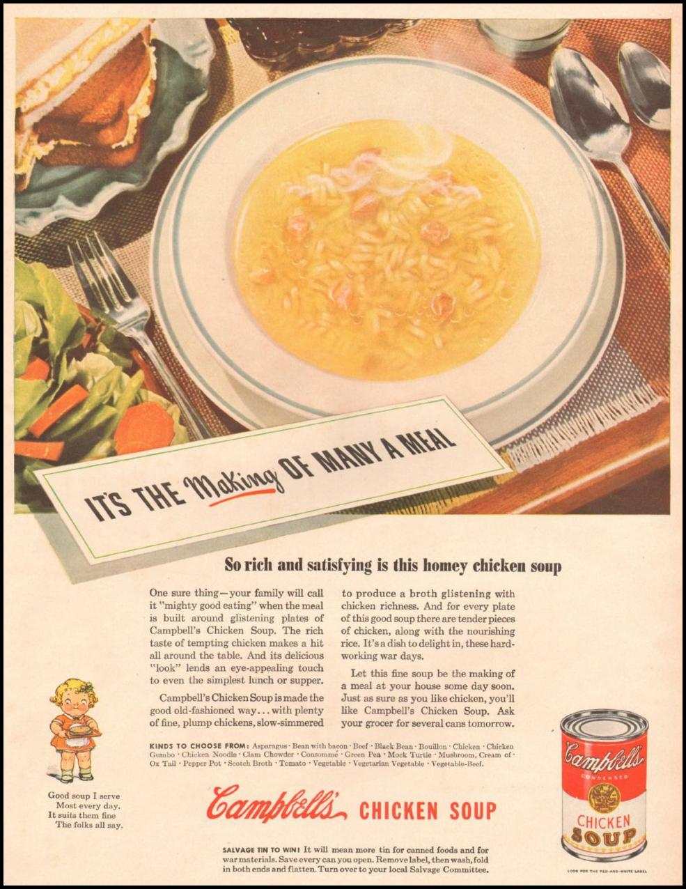 CAMPBELL'S CHICKEN SOUP LIFE 10/25/1943 p. 39