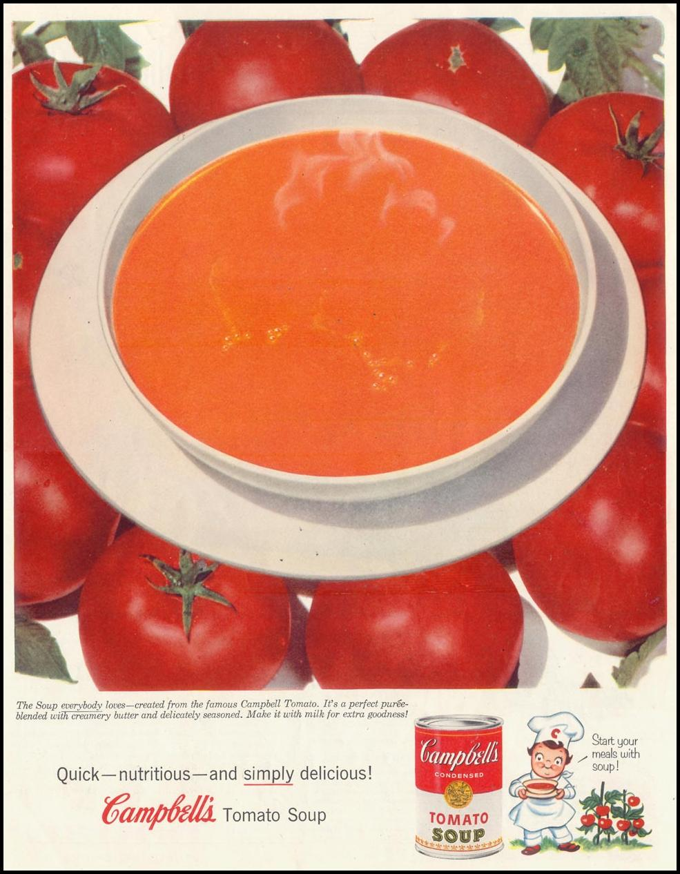 CAMPBELL'S CREAM OF TOMATO SOUP SATURDAY EVENING POST 01/08/1955