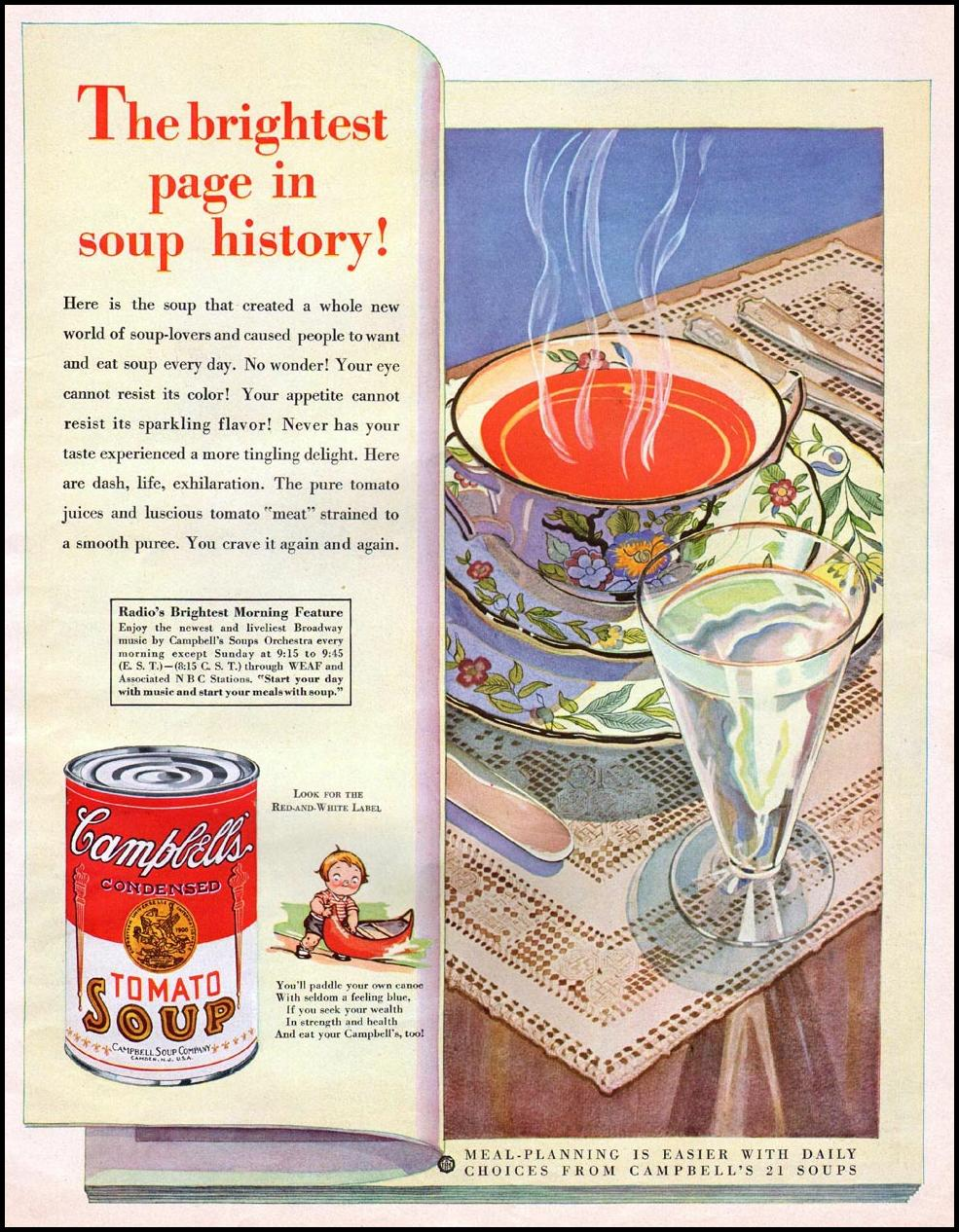 CAMPBELL'S TOMATO SOUP THE HOME MAGAZINE 05/01/1931 p. 13