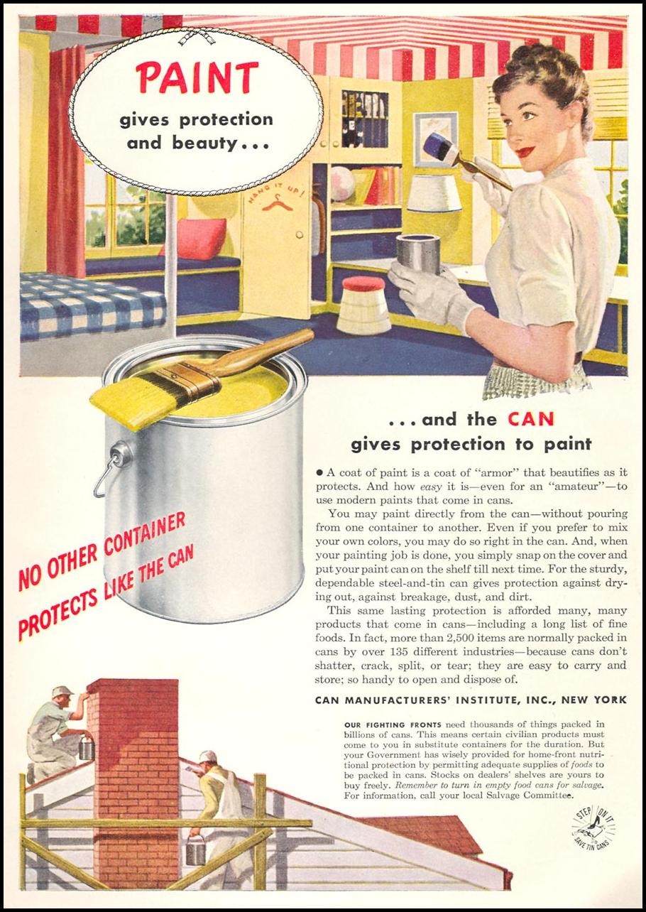 METAL CANS WOMAN'S DAY 09/01/1945 INSIDE BACK