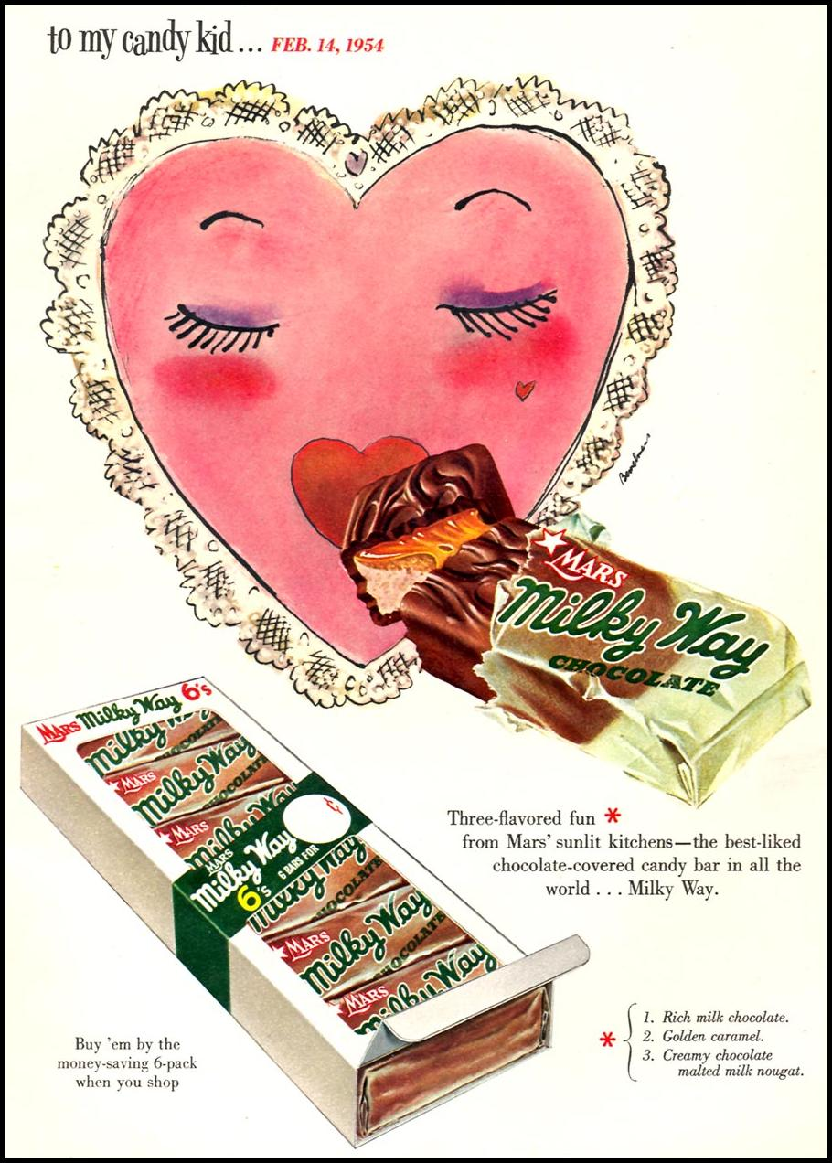 MARS MILK WAY CANDY BAR WOMAN'S DAY 02/01/1954 p. 91