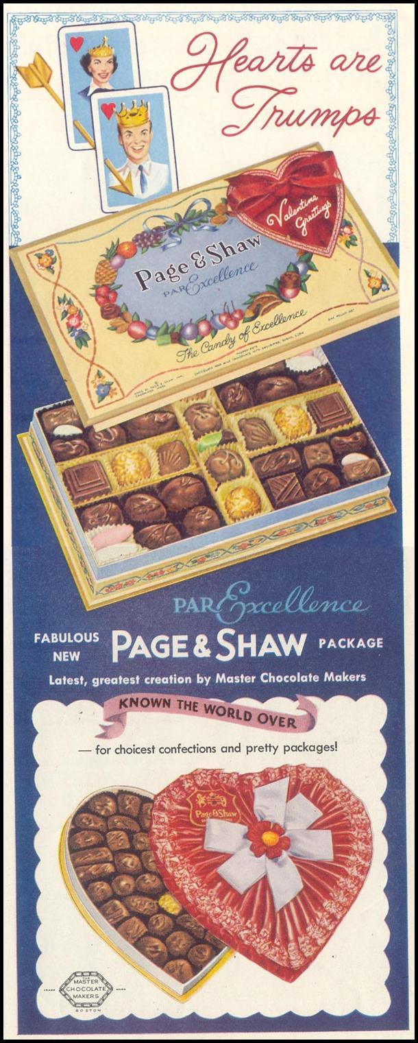 PAGE AND SHAW PAR EXELLENCE CANDY PACKAGE SATURDAY EVENING POST 02/05/1955 p. 83