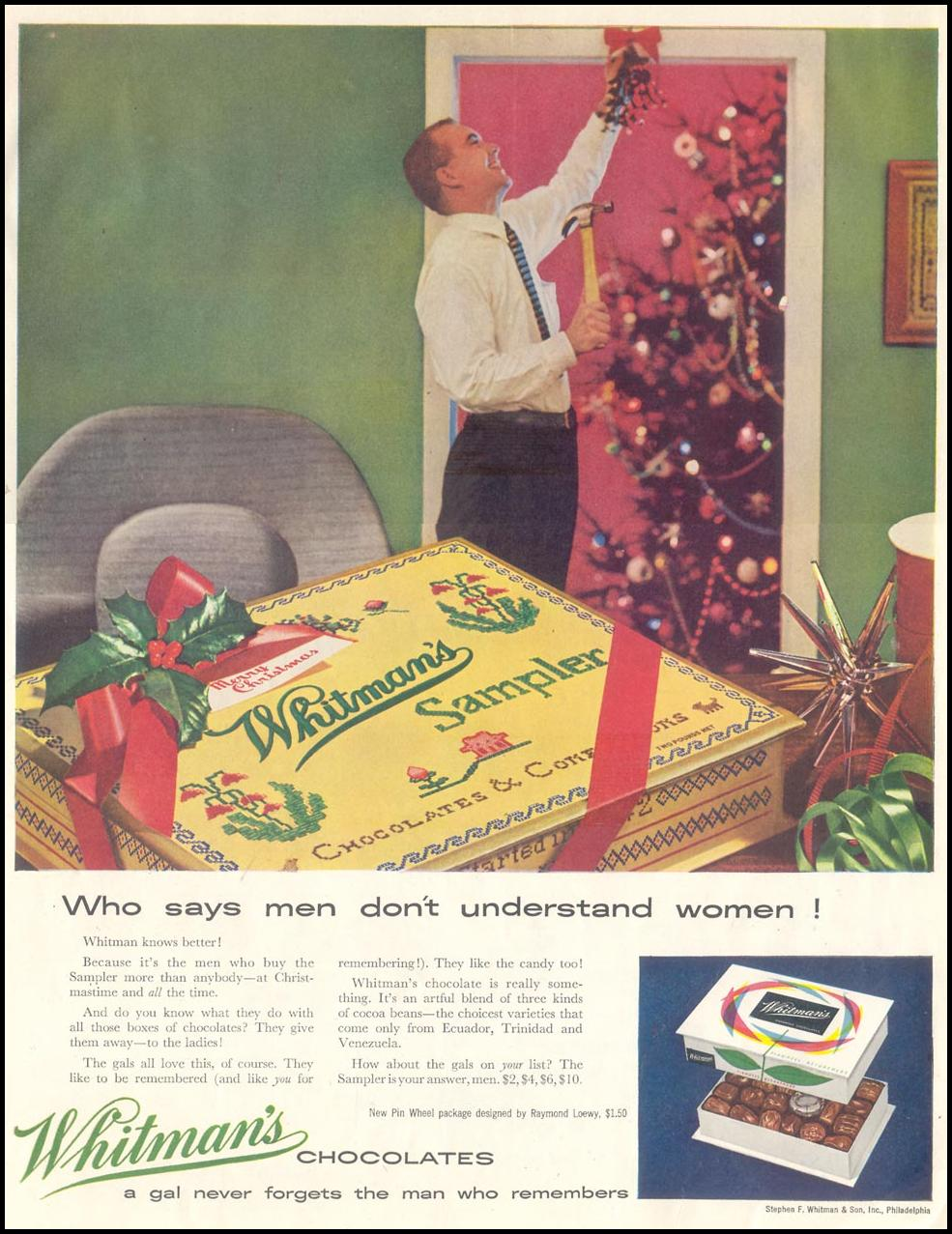 WHITMAN'S CHOCOLATES SATURDAY EVENING POST 12/10/1955