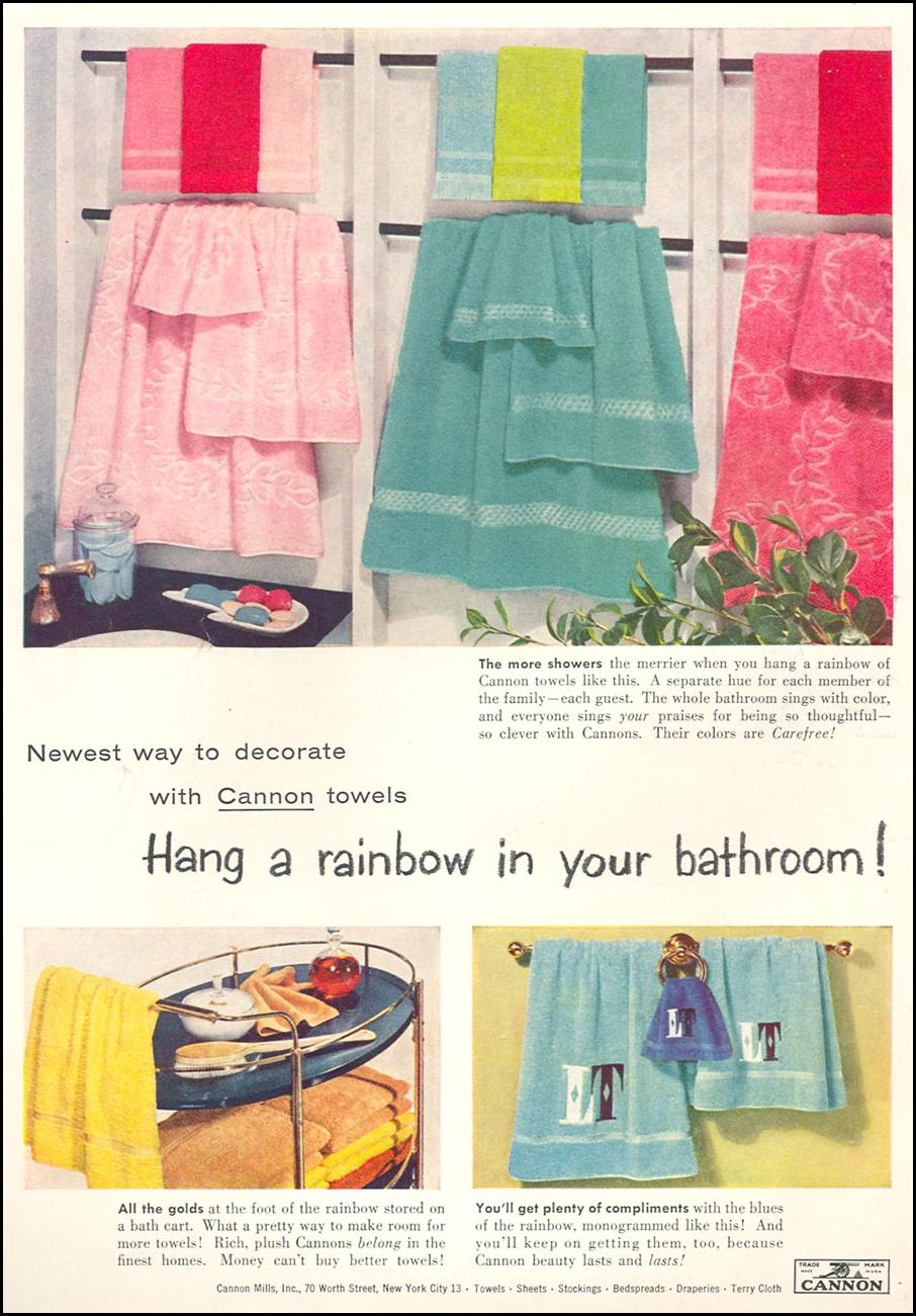 CANNON TOWELS WOMAN'S DAY 04/01/1956 INSIDE FRONT