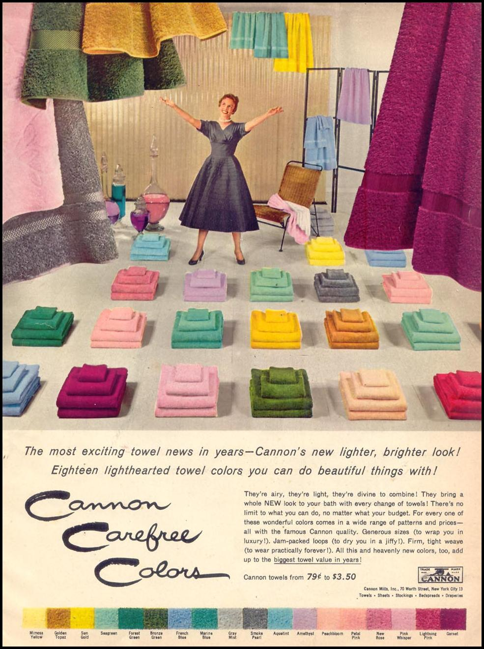 CANNON TOWELS WOMAN'S DAY 10/01/1954 p. 17