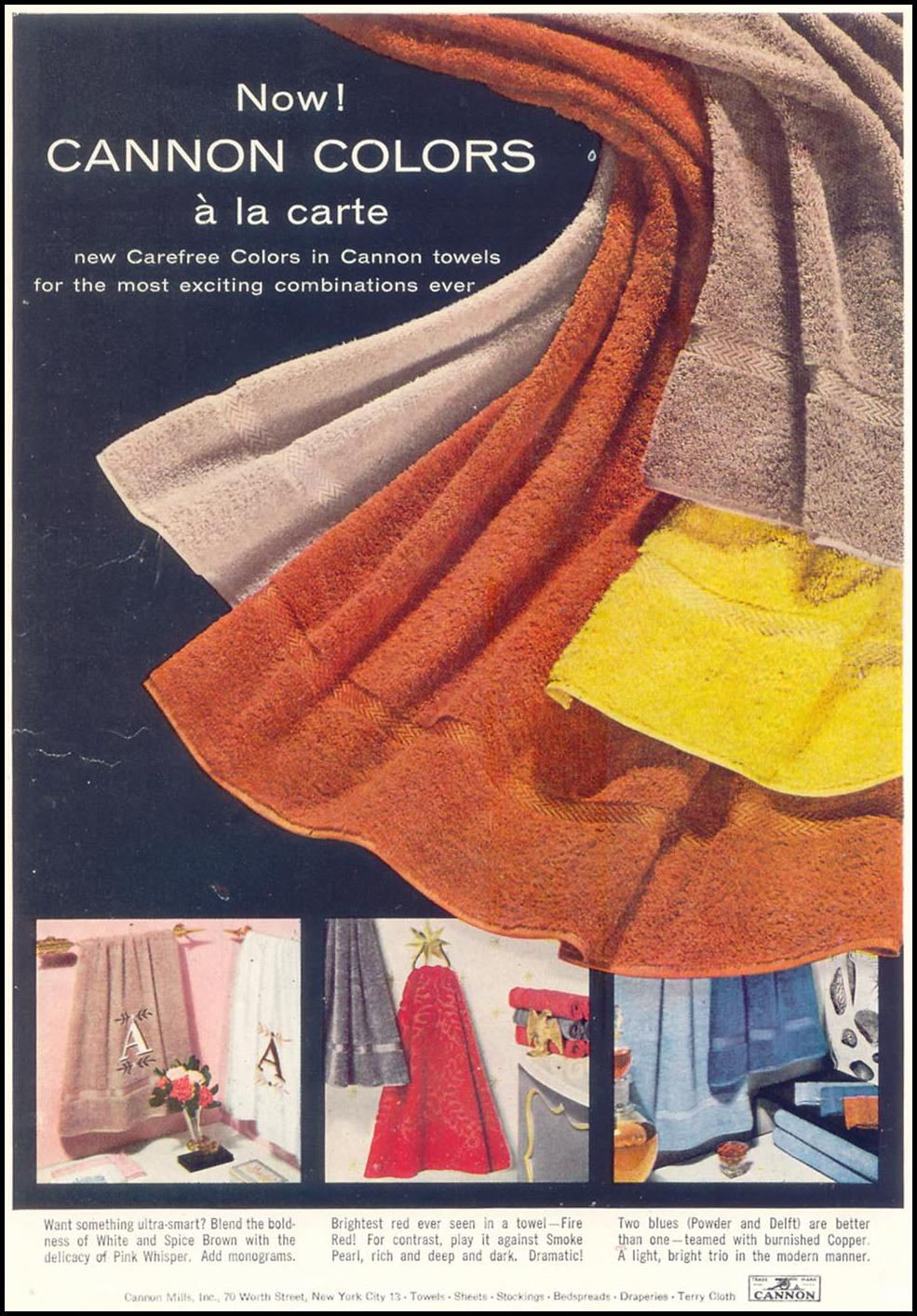 CANNON TOWELS WOMAN'S DAY 11/01/1955 INSIDE BACK