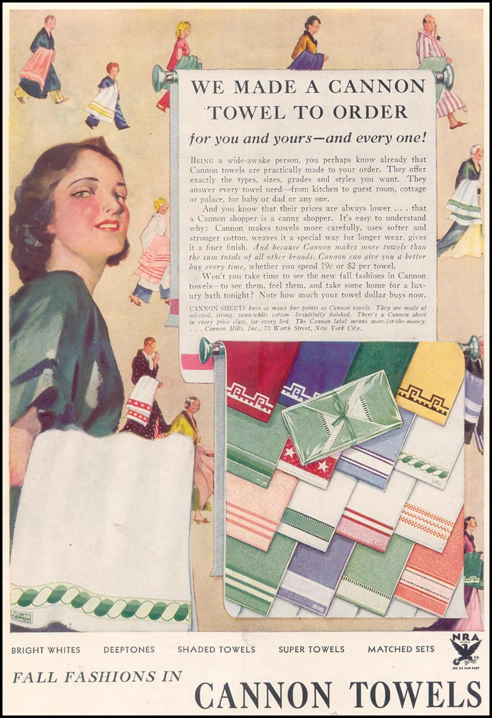 CANNON TOWELS GOOD HOUSEKEEPING 11/01/1933