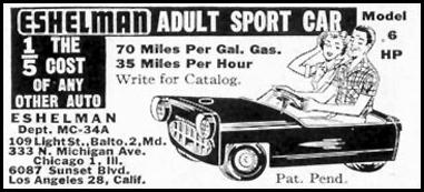 ESHELMAN ADULT SPORT CAR SATURDAY EVENING POST 04/09/1955 p. 129