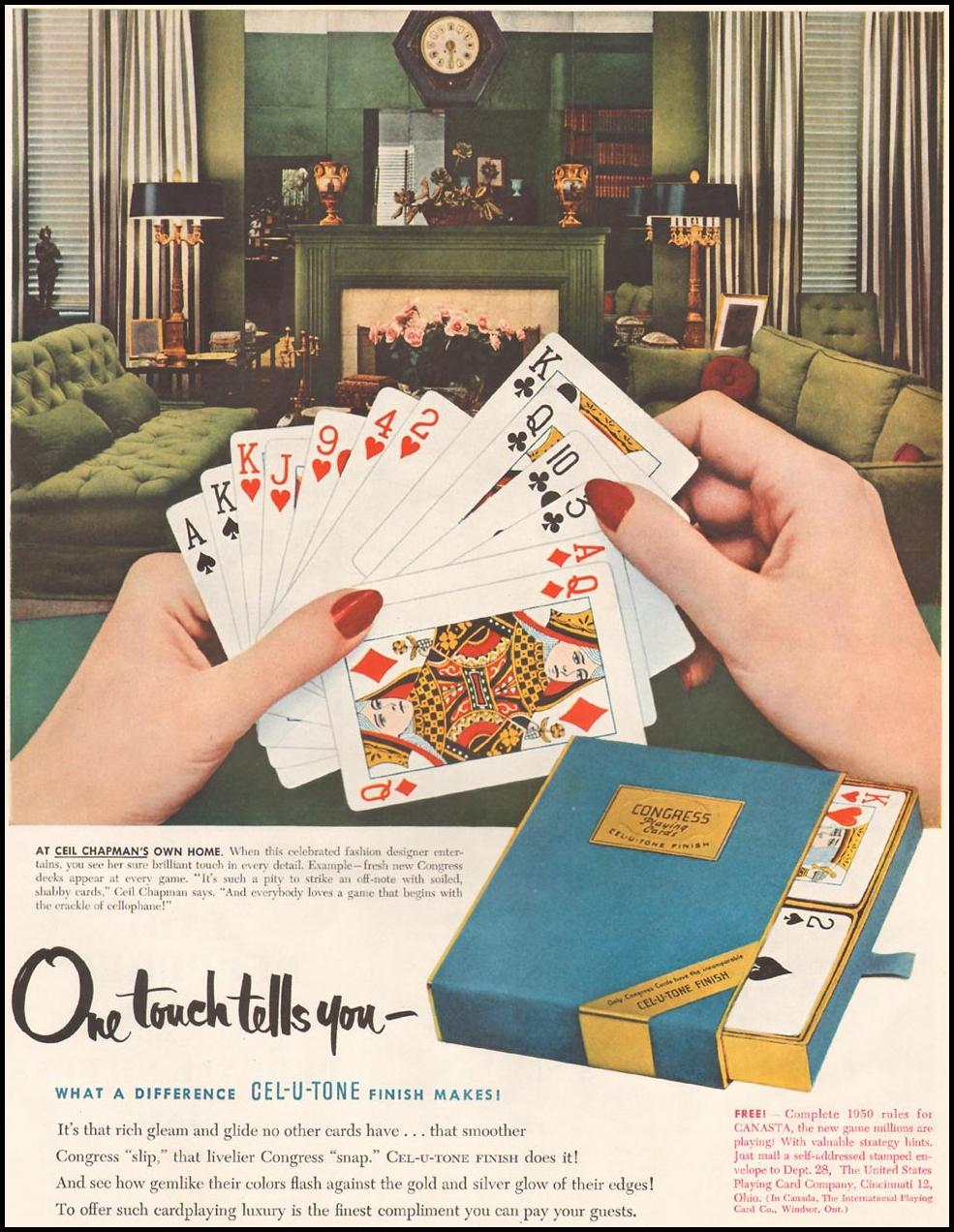 CONGRESS PLAYING CARDS LADIES' HOME JOURNAL 11/01/1950 p. 153