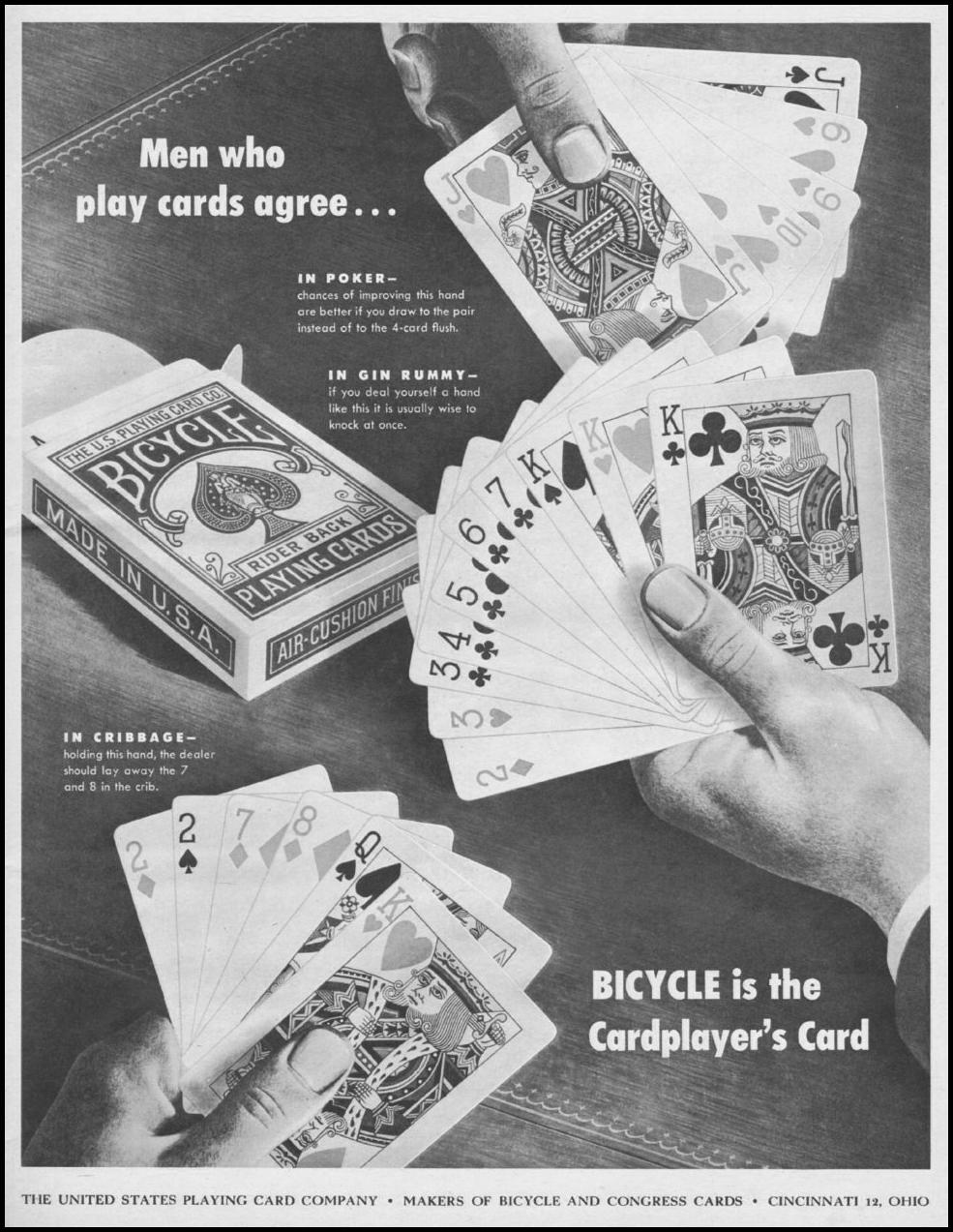 BICYCLE PLAYING CARDS LIFE 11/25/1946 p. 7