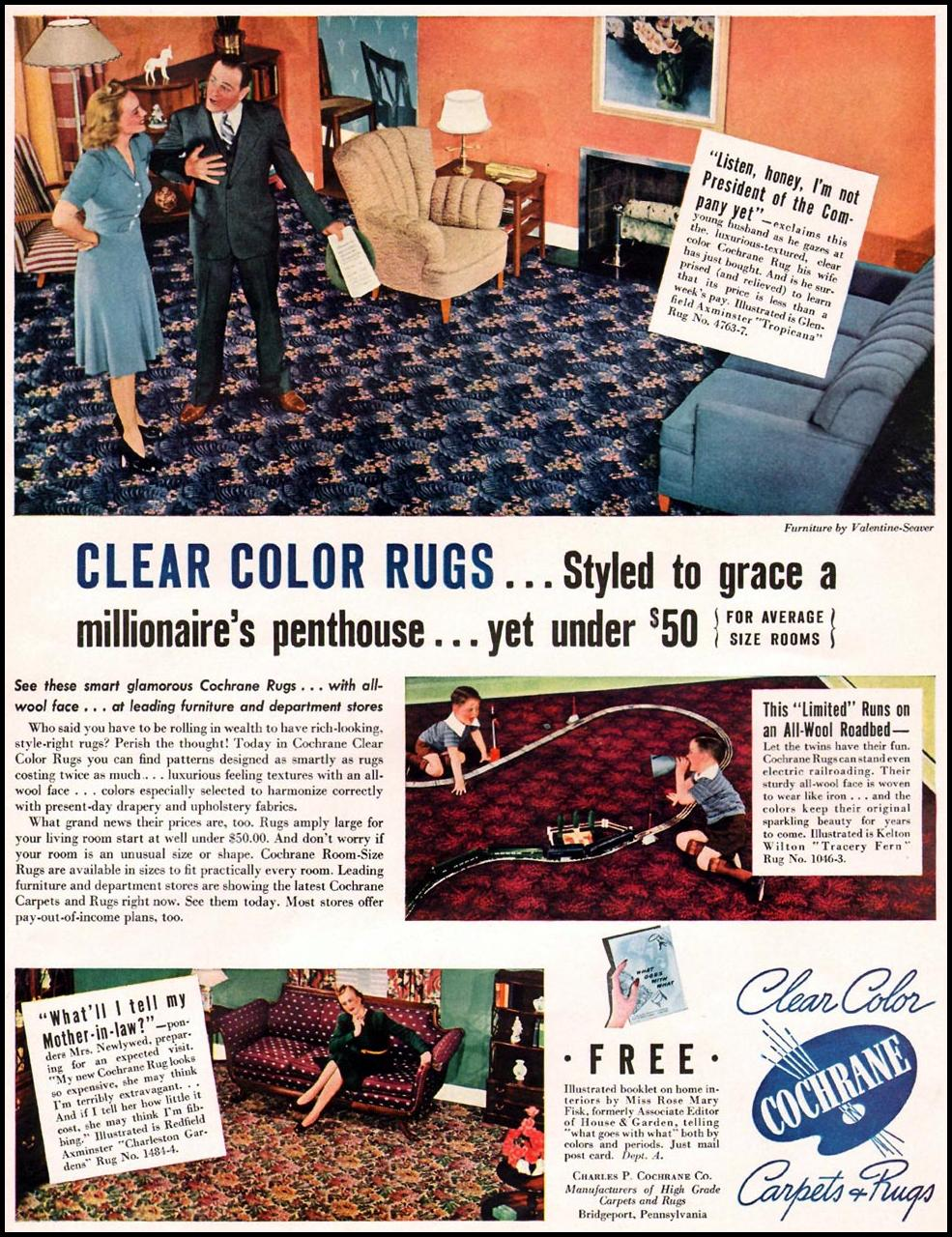 COCHRANE CLEAR COLOR CARPETS AND RUGS LIFE 09/16/1940