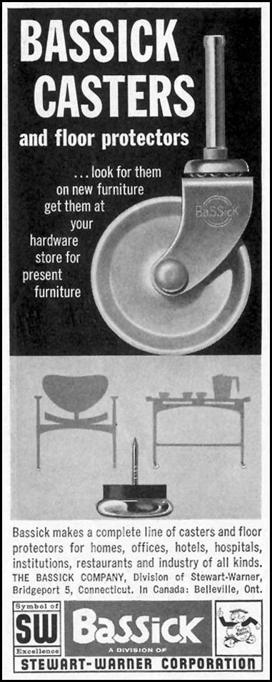BASSICK CASTERS AND FLOOR PROTECTORS SATURDAY EVENING POST 05/02/1959 p. 108