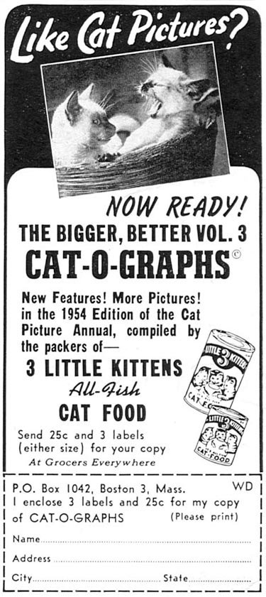 3 LITTLE KITTENS ALL-FISH CAT FOOD WOMAN'S DAY 02/01/1954 p. 177