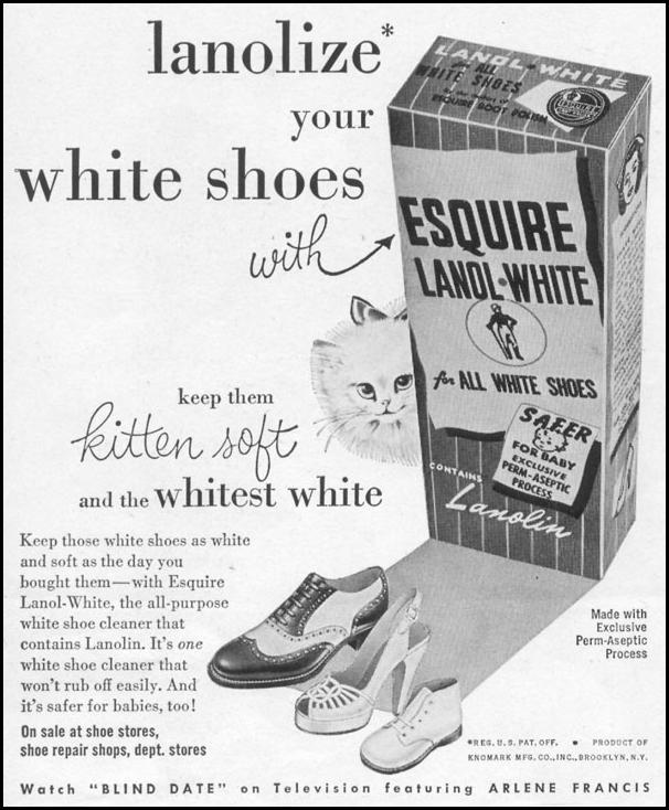 ESQUIRE LANOL-WHITE SHOE POLISH LIFE 06/05/1950 p. 122