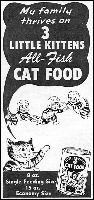 3 LITTLE KITTENS ALL-FISH CAT FOOD WOMAN'S DAY 10/01/1956 p. 144