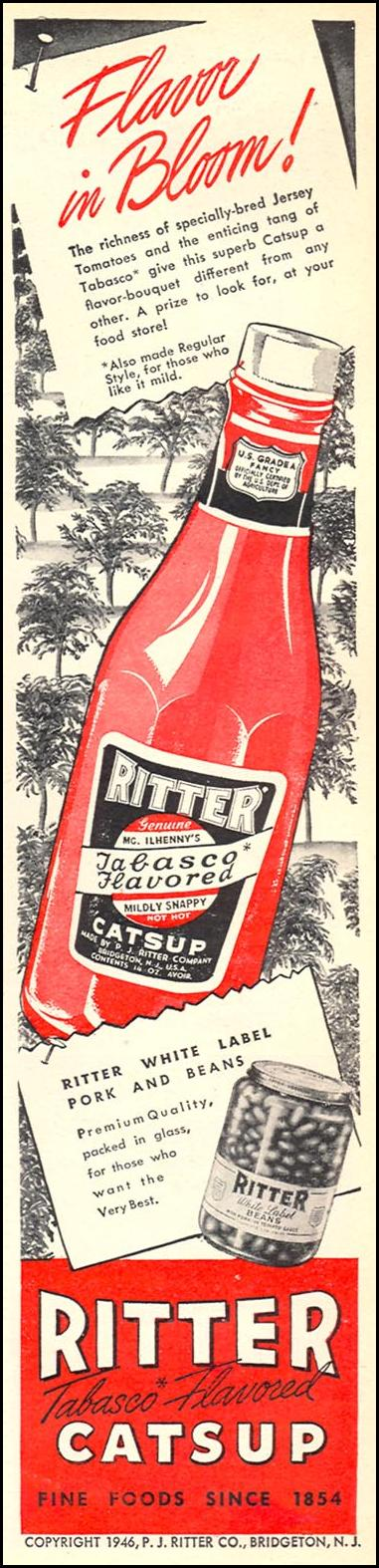 RITTER TABASCO FLAVORED CATSUP WOMAN'S DAY 06/01/1946 p. 7