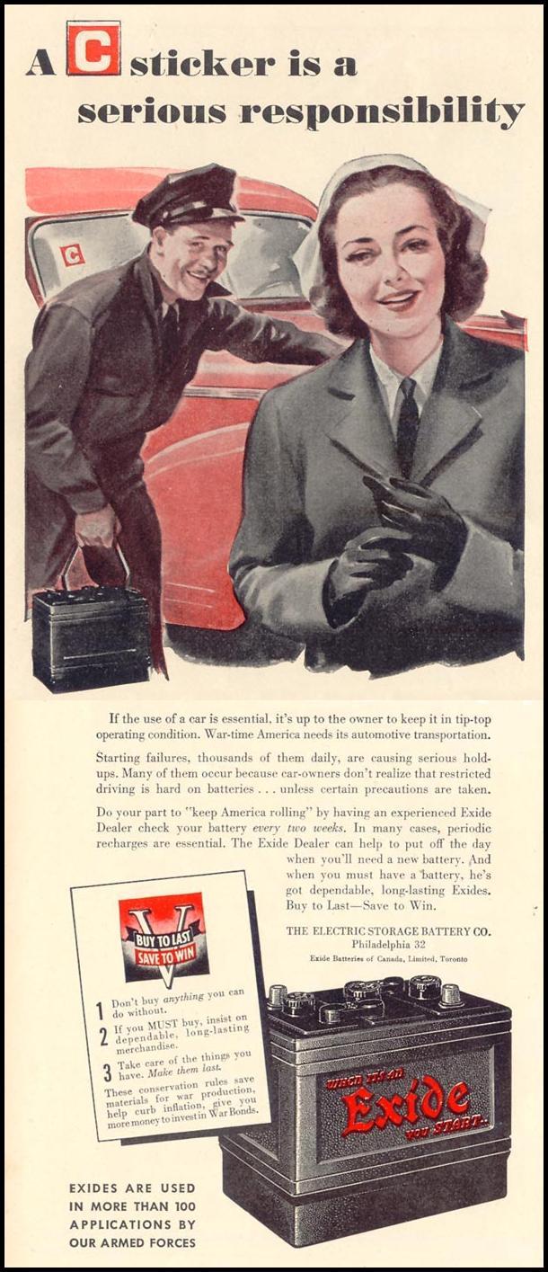 EXIDE AUTOMOBILE BATTERIES LIFE 02/21/1944 p. 128